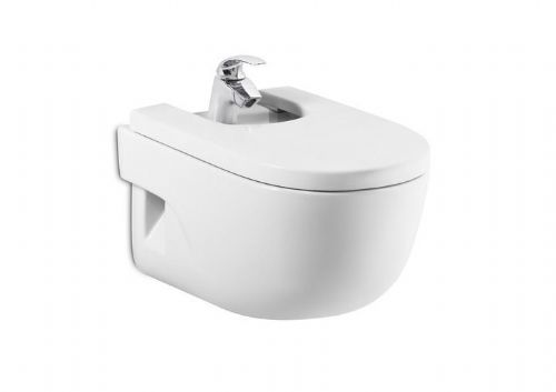 Roca Meridian-N Wall Hung Bidet - Soft Close Bidet Cover - 1 Tap Hole - White